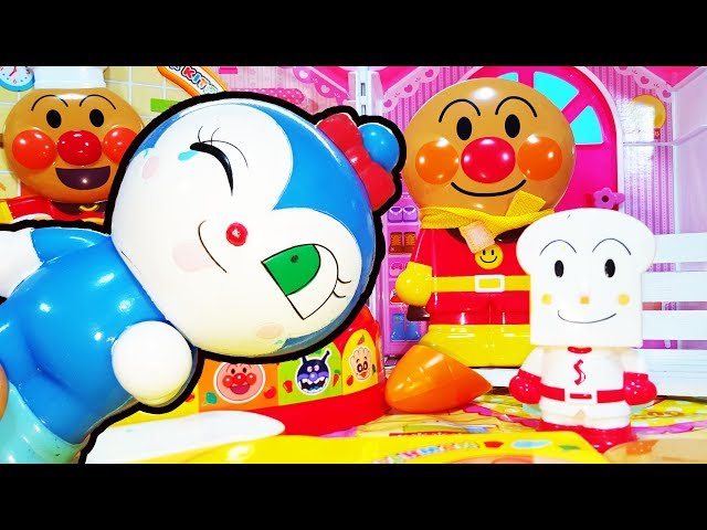 アンパンマン アニメ おもちゃ コキンちゃん お料理 たまご 目玉焼き❤ しょくぱんまん様にお弁当作るの animation Anpanman Toy